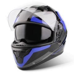 Vinz Becket blau Integralhelm Rollerhelm Motorradhelm Sonnenblende Vorderansicht offenes Visier