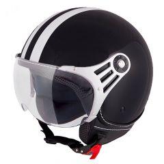 Vinz Fiori schwarz weiße Streifen Jethelm Fashionhelm Rollerhelm Motorradhelm Vorderansicht