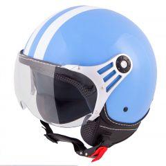 Vinz Fiori blau weiße Streifen Jethelm Fashionhelm Rollerhelm Motorradhelm Vorderansicht