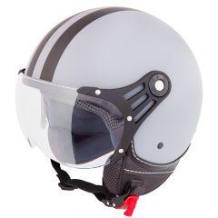 Vinz Fiori matt grau schwarze Streifen Jethelm Fashionhelm Rollerhelm Motorradhelm Vorderansicht