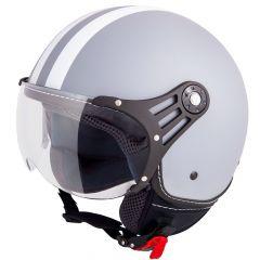 Vinz Fiori matt grau weiße Streifen Jethelm Fashionhelm Rollerhelm Motorradhelm Vorderansicht