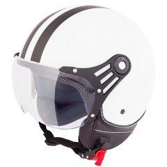 Vinz Fiori matt weiß schwarze Streifen Jethelm Fashionhelm Rollerhelm Motorradhelm Vorderansicht