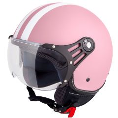 Vinz Fiori rosa weiße Streifen Jethelm Fashionhelm Rollerhelm Motorradhelm Vorderansicht