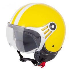 Vinz Fiori gelb weiße Streifen Jethelm Fashionhelm Rollerhelm Motorradhelm Vorderansicht
