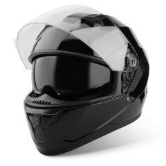 Vinz Kennet schwarz Integralhelm Rollerhelm Motorradhelm Sonnenblende Vorderansicht offenes Visier