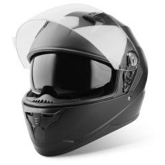 Vinz Kennet matt schwarz Integralhelm Rollerhelm Motorradhelm Sonnenblende Vorderansicht offenes Visier