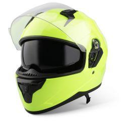 Vinz Kennet fluor gelb Integralhelm Rollerhelm Motorradhelm Sonnenblende Vorderansicht offenes Visier