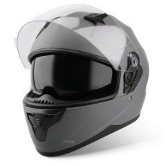 Vinz Kennet titanium Integralhelm Rollerhelm Motorradhelm Sonnenblende Vorderansicht offenes Visier