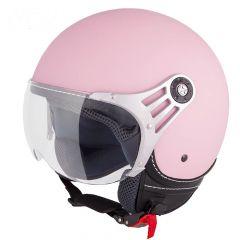 Vinz Stelvio matt rosa Jethelm Fashionhelm Rollerhelm Motorradhelm Vorderansicht