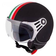Vinz Trafori Schwarz Italy Jethelm Fashionhelm Vespa Helm Rollerhelm Motorradhelm Vorderansicht