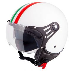 Vinz Trafori Weiß Italy Jethelm Fashionhelm Vespa Helm Rollerhelm Motorradhelm Vorderansicht