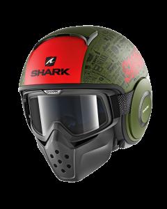Shark Drak Jethelm - Tribute RM / Mat Groen / Zwart / Rood_3